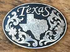 Nocona Fancy Engraved Silver & Black Two Tone Texas Western Cowboy Belt Buckle