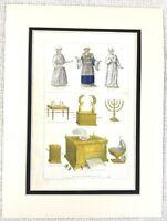 1866 Antik Jüdisch Aufdruck Cohen Priester Arche Von Bund Menora Selten Gravur