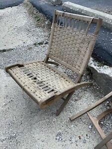 Pair Of 1960s MCM Danish Modern Rope Lounge Chairs - HANS WEGNER Hot Mess