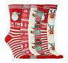 6 paia donna confezione novità natale festivi calze calzini misura 37-42 eur