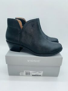 Vionic Women's Liv Metallic Cutout Ankle Boots - Black Leather US 9W / EUR 41