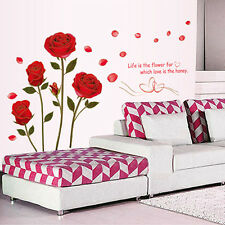 Red Rose Flower Wall Sticker Mural Decal Home Room Decor DIY Wall Sticker Hot