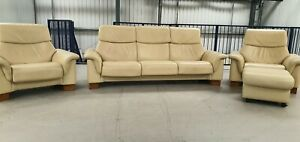 Ekornes stressless Leather 3 seater sofa recliner & 2 x recliner chairs 13720