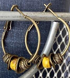 Rustic Mustard Bead and Bronze Lever Back Hoop Earrings