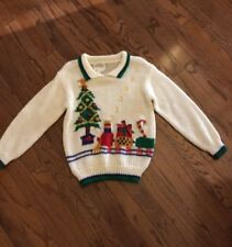 Ugly CHRISTMAS TREE TRAIN BOW  Sweater Heidi Knitted by Hand WOMENS SMALL