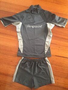 Adult Vanguard Shirtsleeve Sun Shirt Rashguard Tasha Top + Shorts Grey Women M