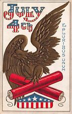 Fourth of July Postcard Gold Eagle with Fireworks Firecracker~112396