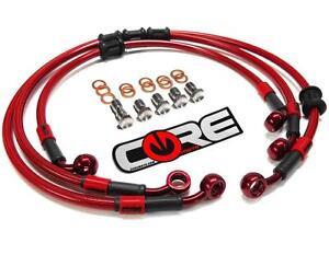 GSXR 1000 Brake Lines 2007-2008 Front & Rear Red Custom Braided Stainless Suzuki