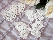 Guipure Lace  1 each BUTTERFLY 7x4cm & 9&5cm & 2 HEARTS 5x5cm - WHITE = 4 items