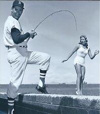 "Ted Williams - 8"" x 10"" Photo - Fishing - Baseball - Swimsuit Model - 1950's"