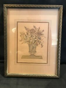 Vintage Floral Still Life Etching Print With Wooden Frame - Nice Condition