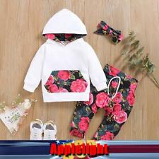 Newborn Baby Girl Kids Toddler Floral Hooded Tops+Long Pants Outfits Set Clothes