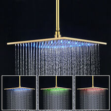 "12""Golden Led Rain Shower Head Wall Mount Square Large Overhead Shampoo Sprayer1"