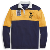 Mens Polo Ralph Lauren Classic Fit Cotton Rugby Shirt Navy/ Gold Sizes L - XL