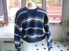 Men's IZOD  Striped Sweater Blue/ WHITE/ YELLOW 100% Cotton Sz M PRISTINE