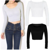 Fashion Women's Long-Sleeved T-Shirt Solid Color Wild Short Slim Tops Blouse Hot