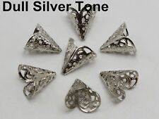 50 Dull Silver Filigree Flower Cone Shape End Beads Cap 16X11mm Jewelry Finding