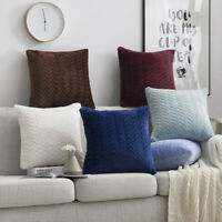 AU_ Soft Plush Square Pillow Case Sofa Waist Throw Cushion Cover Home Decor Nove