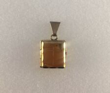 9ct Gold Rectangle Locket  With Cross Engraving  Measures 1.8cms x 1cm   1g  NEW