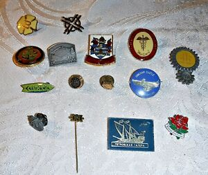 15 VINTAGE CAP BADGES/PINS ALL TYPES ENAMEL LUCITE EYC COLLECTORS OR ENTHUSIASTS