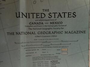 1940 United States National Geographic Vintage Map Folded Flea Market Farmhouse