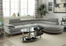 Grey Faux Leather Curved Sectional Sofa Couch Round Chaise with Metal Legs
