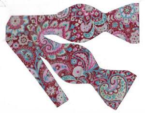 Red Paisley Bow tie / Burgundy, Pink, Blue & Metallic Silver / Self-tie Bow tie