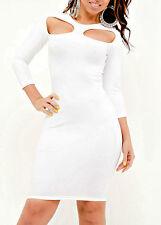 Abito cono aperto bianco maniche Womens Mini Bandage Mesh open Bodycon dress