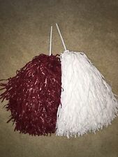 PAIR of  ALABAMA COLORS FOOTBALL COLLEGE ROOTER Pom Poms