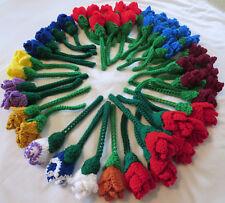 HANDMADE Knit CROCHET Long STEM Color ROSE Fake FLOWER Floral HOME DECOR Bouquet