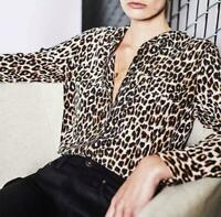 New silk leopard print Equipment  women long sleeves blouse lady shirt Sexy Sz