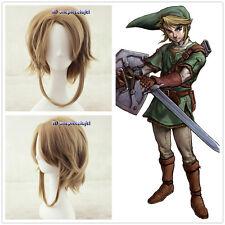 Link The Legend Of Zelda Link Short Brown Anime cosplay Wig +free wig cap