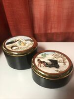 Two Vintage Ceramic Black/Gold Storage Boxes Christmas Tampa Bay Mold Co. 1992