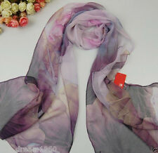 China Style Women Georgette Chiffon Wraps Shawls Lotus Flower Soft Scarves