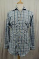 Peter Millar Mens Shirt Size Medium Blue Plaid Long Sleeve L/S Button Down Golf