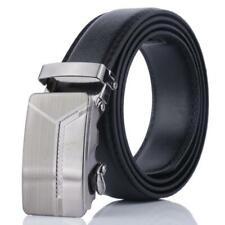 UK Mens Automatic Buckle Belt Leather Belts Waist Ratchet Waistband Leisure