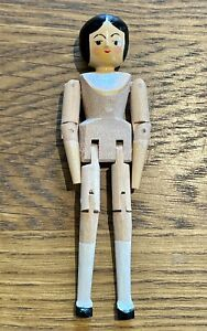 """Eric Horne Miniature Handmade 3"""" Peg Wooden Doll - signed and dated 2010"""