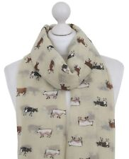 Cream Cow Scarf Ladies Dairy Farm Animals Print Cows Scarves Women Gifts For Her