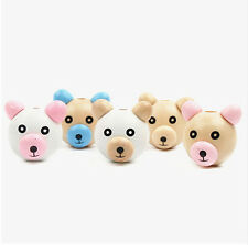 5pcs Wood Beads Wooden 3D Bear Ball Pacifier Clip Jewelry for Children Kid