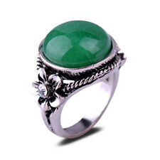 Retro Green Jade Stone Cezch Crystal Flower Antique Silver Plated Ring Gift AA64