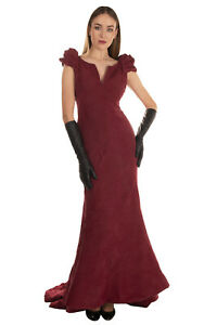 RRP€4825 ZAC POSEN Trumpet Gown Size 4 S Garment Dye Crumpled Effect Made in USA