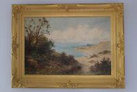 19C Daniel Sherrin Signed Isle of Wight Coast Freshwater U.K. Oil Painting