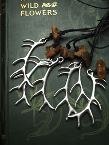 Stag Antler & Baltic Amber Pendant  - Cernunnos, Elen, Deer, Pagan, Witchcraft