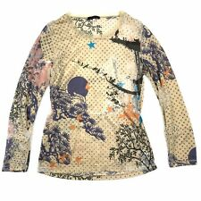 KENZO Women's Beige Multicolor Long Sleeve Burnout Semi Sheer Long Sleeve Top M