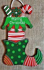 Merry Christmas ELF STOCKING SHOE SIGN Wall Door Hanger Plaque Wreath Accent