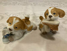 New Listing2 Homco Home Interiors Spaniel Dog Chewing Shoes Figurines 1405 Nice Set