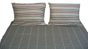 DaDa Bedding Multi Color Brown Cotton Striped Fitted Sheet & Pillow Cases Set