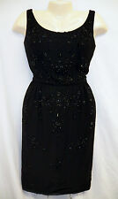"Vtg 50's Pin Up Beaded Dress Rockabilly 32/25/34"" Wiggle Tassel 1lb Black Sexy"