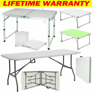 Folding Table Portable Plastic Tables Camping Garden Party Trestle Heavy Duty