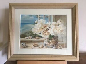 """Fab Shabby Chic Style  Seaside Seashells Floral Pic In Light Wood Frame 12x10"""""""